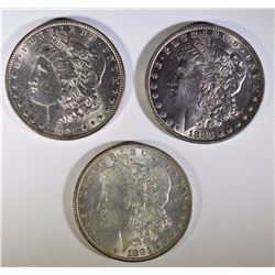 3 AU MORGAN SILVER DOLLARS: 2- 1883, 1- 1901-O