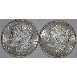1897 BU & 1902 BU SCRATCH MORGAN DOLLARS