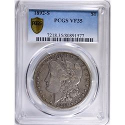 1892-S MORGAN SILVER DOLLAR PCGS VF35