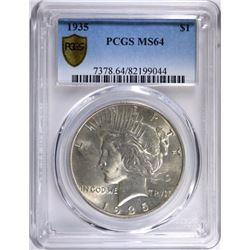 1935 PEACE SILVER DOLLAR PCGS MS64