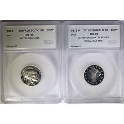 "2 - MULE (COPY) 1913 BUFFALO ""V"" NICKELS; BOTH GRADED SEGS SUPERB GEM+"