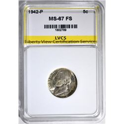 1942-P JEFFERSON NICKEL LVCS SUPERB GEM FS