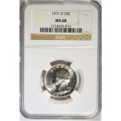 1971 D WASHINGTON QUARTER NGC MS 68  POP 7 NONE HIGHER