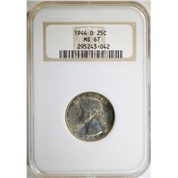 "1944-D WASHINGTON QUARTER - NGC MS67  "" OLD FATTY HOLDER """