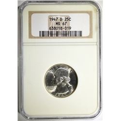 1947-D WASHINGTON QUARTER - NGC MS67
