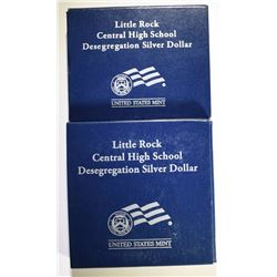 2 - 2007 LITTLE ROCK SILVER DOLLARS; PROOF & UNC - BOX/COA