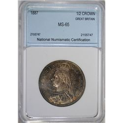 1887 SILVER HALF CROWN GREAT BRITAIN Graded by NNC GEM BU - NICE OLD TIME TONE
