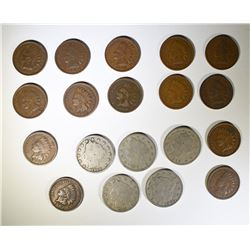 """14 INDIAN HEAD CENTS & 5- """"V"""" NICKELS - CIRC"""