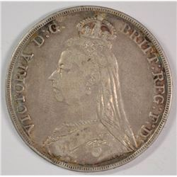 1890 Great Britain Crown, VF, 92.5% silver ..8409 ozt, KM#765