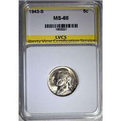 1943-S JEFFERSON NICKEL LVCS SUPERB GEM+