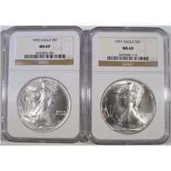 1991 & 1992 AMERICAN SILVER EAGLES, NGC MS-69