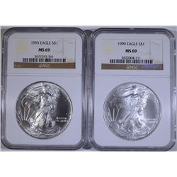 1993 & 1999 AMERICAN SILVER EAGLES, NGC MS-69