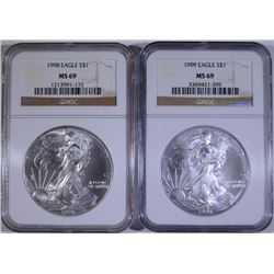 1998 & 1999 AMERICAN SILVER EAGLES, NGC MS-69