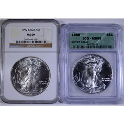 1989 ICG & 1992 NGC MS-69 AMERICAN SILVER EAGLES