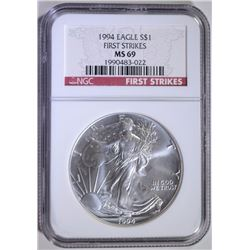 1994 AMERICAN SILVER EAGLE, NGC MS-69 FIRST STRIKES   BETTER DATE