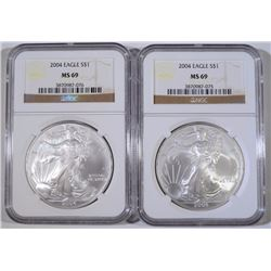 ( 2 ) 2004 AMERICAN SILVER EAGLES, NGC MS-69