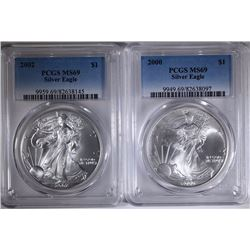 2000 & 2002 AMERICAN SILVER EAGLES, PCGS MS-69