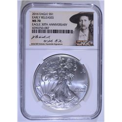 """2016 AMERICAN SILVER EAGLE EARLY RELEASE """"WILD BILL HICKOK"""" NGC MS-70"""