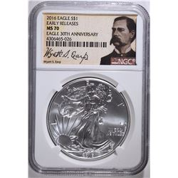 "2016 AMERICAN SILVER EAGLE EARLY RELEASE ""WYATT EARP"" NGC MS-70"