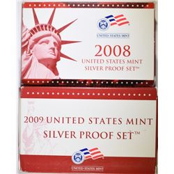2008 $ 2009 U.S. SILVER PROOF SETS IN ORIGINAL PACKAGING