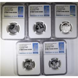 SET OF 5-NGC GRADED PF-70 ULTRA CAMEO 2016-S SILVER  1st DAY OF ISSUE QUARTERS