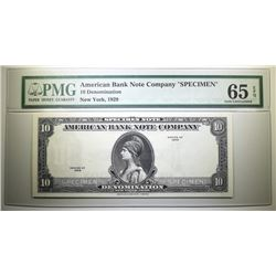 "1929 10 DOLLAR SPECIMEN AMERICAN BANK NOTE COMPANY ""TEST NOTE"" PMG 65 EPQ"