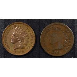 "1869 ""KEY DATE"" INDIAN HEAD CENT GOOD & 1909 INDIAN HEAD CENT UNC"