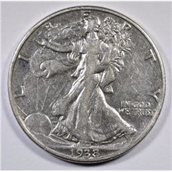 1938-D WALKING LIBERTY HALF DOLLAR - AU