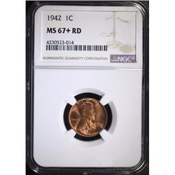 1942 LINCOLN CENT - NGC MS67+ RD