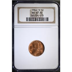 1944-S LINCOLN CENT - NGC MS 67 RD