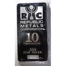 TEN OUNCE .999 SILVER BAR ( REPUBLIC METALS  )
