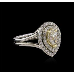 1.50 ctw Light Yellow Diamond Ring - 14KT Two-Tone Gold