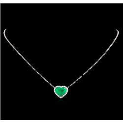 4.69 ctw Emerald and Diamond Pendant With Chain - 14-18KT White Gold