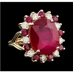 16.70 ctw Ruby and Diamond Ring - 14KT Yellow Gold