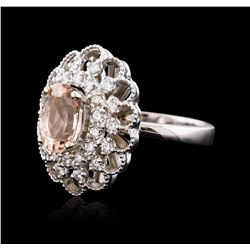 14KT White Gold 2.05 ctw Morganite and Diamond Ring