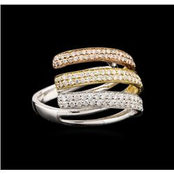 18KT Tri-Color Gold 0.98 ctw Diamond Ring