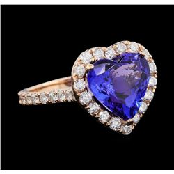 5.44 ctw Tanzanite and Diamond Ring - 14KT Rose Gold