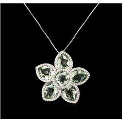 11.63 ctw Green Amethyst and Diamond Pendant With Chain - 14KT White Gold