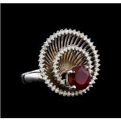14KT White Gold 2.58 ctw Ruby and Diamond Ring