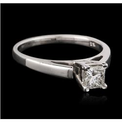 14KT White Gold 0.54 ctw Princess Cut Diamond Solitaire Ring