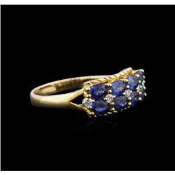 10KT Yellow Gold 1.85 ctw Blue Sapphire and Diamond Ring