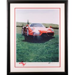 Harold James Cleworth Ferrari Red Limited Edition Lithograph