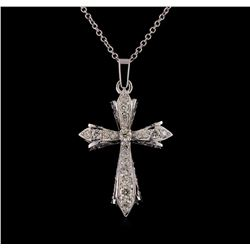 0.63 ctw Diamond Pendant With Chain - 14KT White Gold