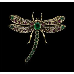 0.72 ctw Emerald, Ruby and Diamond Butterfly Brooch - 18KT Yellow Gold