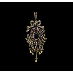 4.04 ctw Amethyst and Diamond Pendant - 18KT Yellow Gold