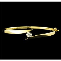 0.45 ctw Diamond Bangle Bracelet - 14KT Yellow Gold
