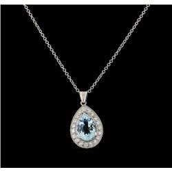 3.7 ctw Aquamarine and Diamond Pendant With Chain - 14KT White Gold