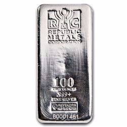 100 oz .999 Pure Silver Bar - Republic Metals Corp. (RMC)