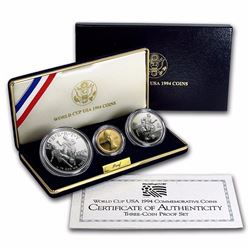 1994 3-Coin World Cup Set BU (w/Box & COA) Includes $5 Gold Coin