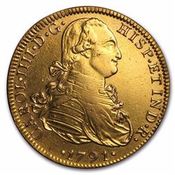 1791-Mo FM Mexico Gold 8 Escudos Carlos IV AU  225 YEARS OLD RARE